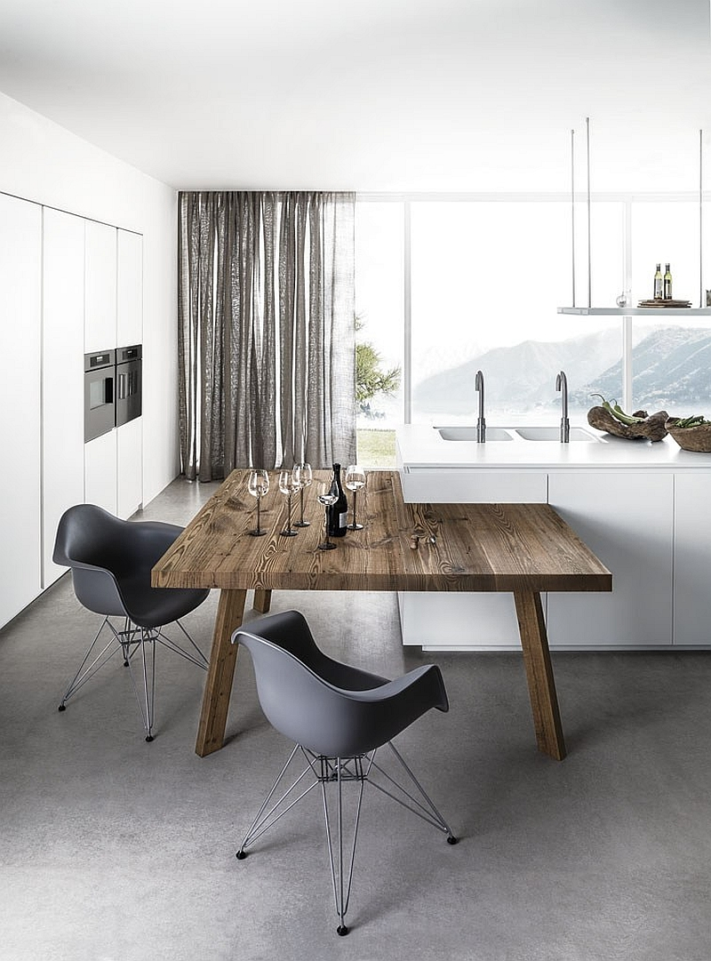 Polished lacquered surfaces coupled with warm wood