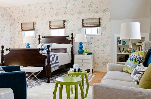 Pops of bright blue and lime green enliven the room