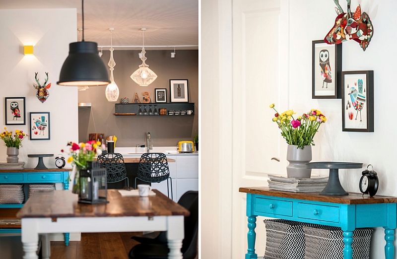 Pops of turquoise enliven the space