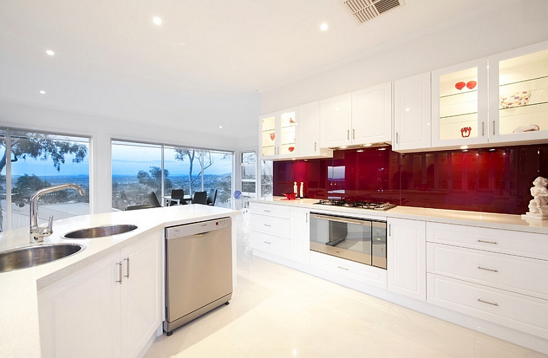 View In Gallery Posh Contemporary Kitchen With Red Backsplash