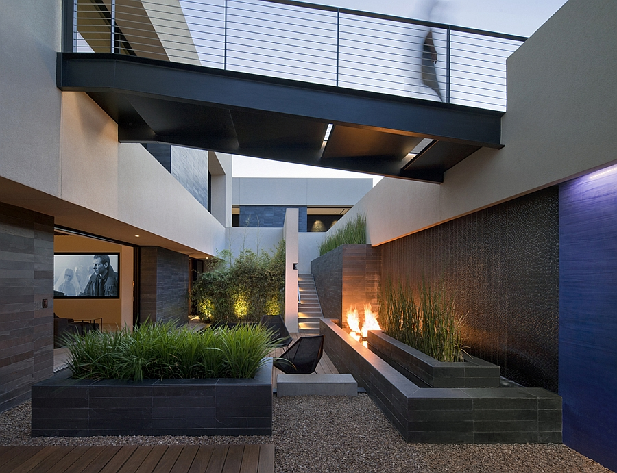 Private courtyard with a fireplace