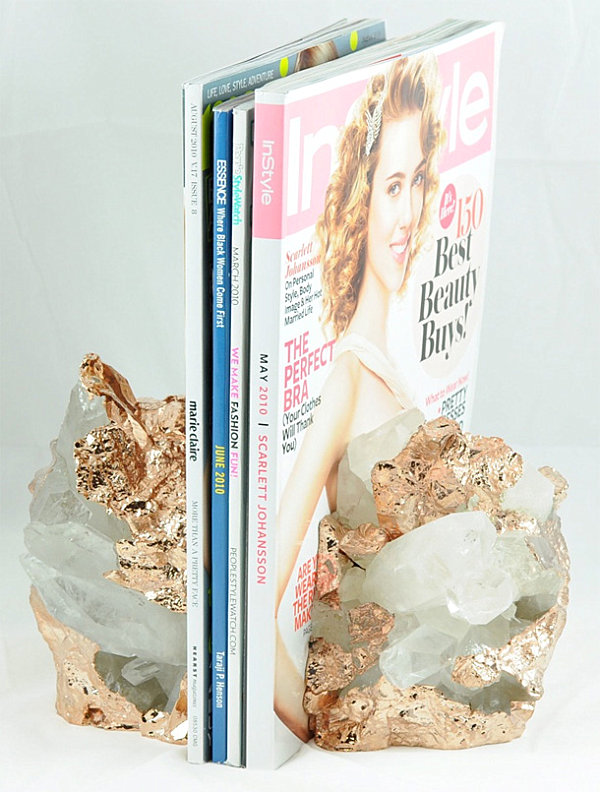 Quartz bookends dipped in gold