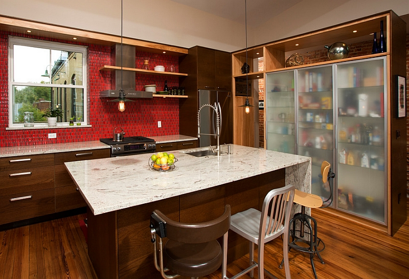 Red backsplash with thick grout lines that stand out