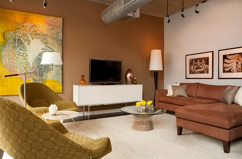 Refreshing pops of yellow shine through in the living room