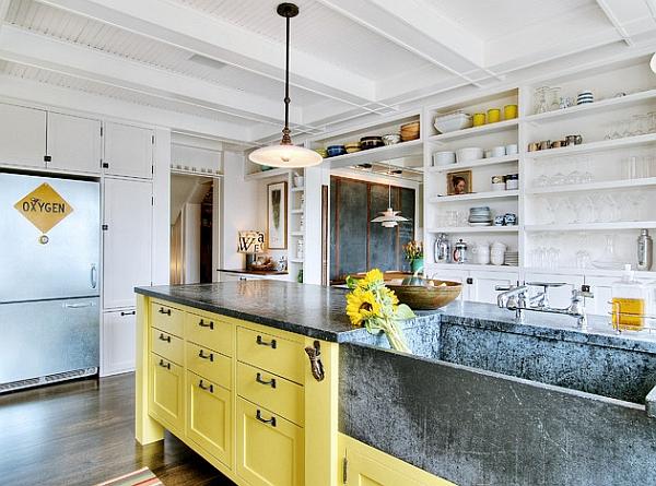 Refreshing splurge of yellow brightens the space