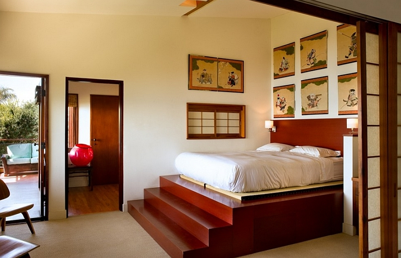 Relaxing Japanese style master suite with a private balcony