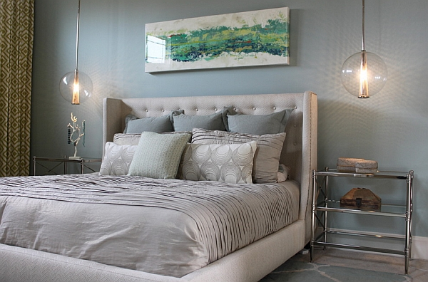 Replace traditional bedside lights with elegant pendants