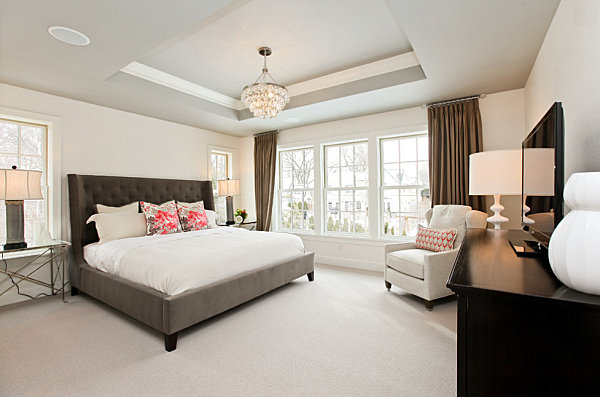 Rosy accents on bedroom pillows