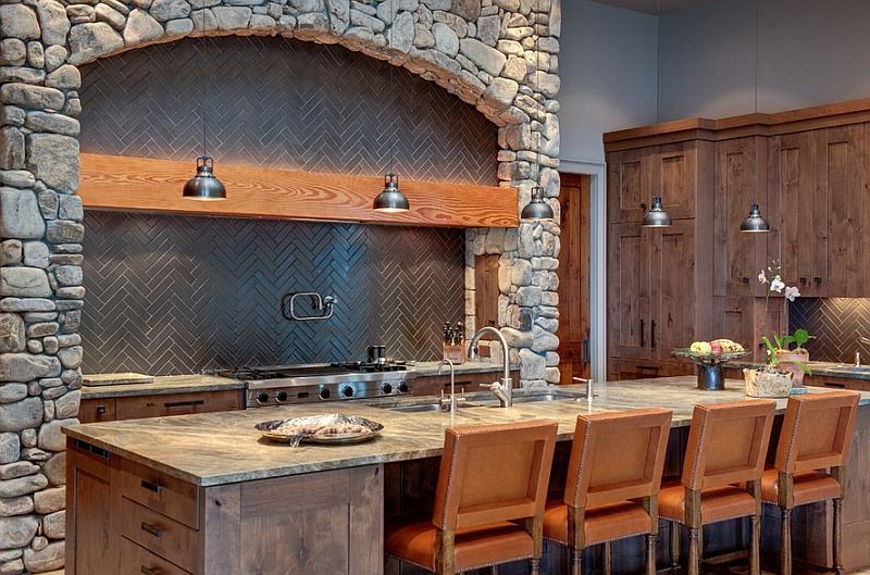 View In Gallery Rustic Kitchen With A Trendy Herringbone Backsplash