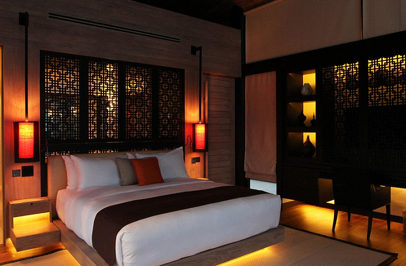 sculptural lighting idea for the japanese bedroom
