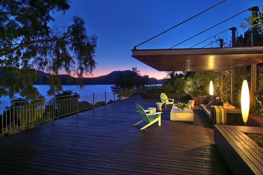 Sculptural lighting on the wooden deck
