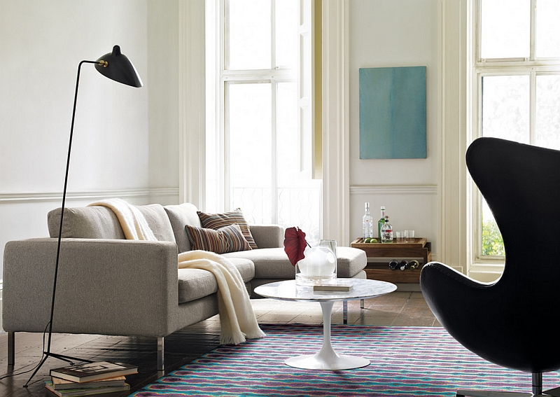 Serge Mouille Floor Lamp next to the Neo Sectional with Chaise Iconic Serge Mouille Lamps Transcend Design Styles And Eras!