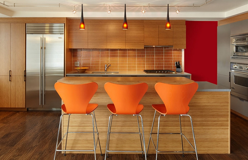 Series 7 Stools and Pendants complement the backsplash perfectly