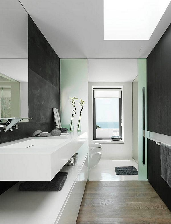 Skylights and floating vanity in the bathroom