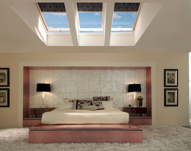 Skylights and pretty pink enliven the chic Asian style bedroom