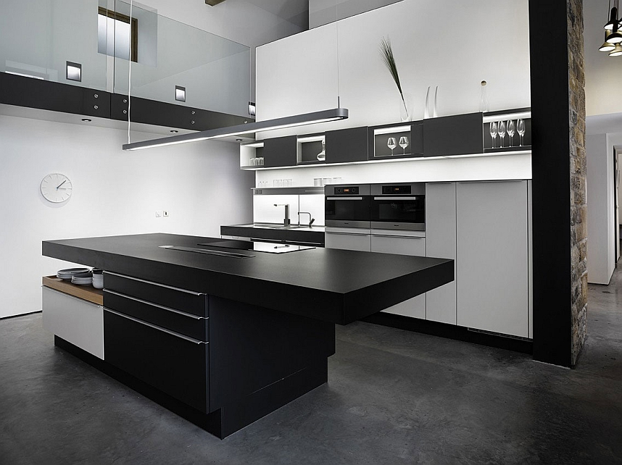 Sleek and sophisticated contemporary kitchen in a revamped barn house