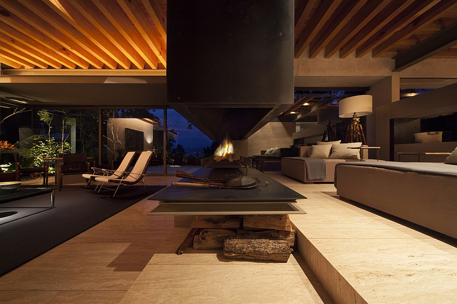 Sleek, contemporary fireplace in the living room