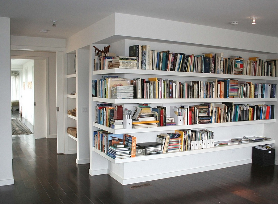Sleek corner bookshelf idea