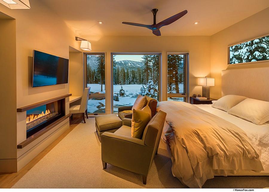 Sleek fireplace in the bedroom