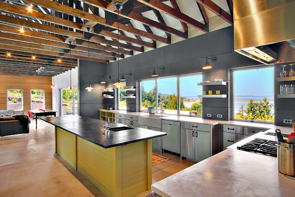 Sleek kitchen with lovely views outside