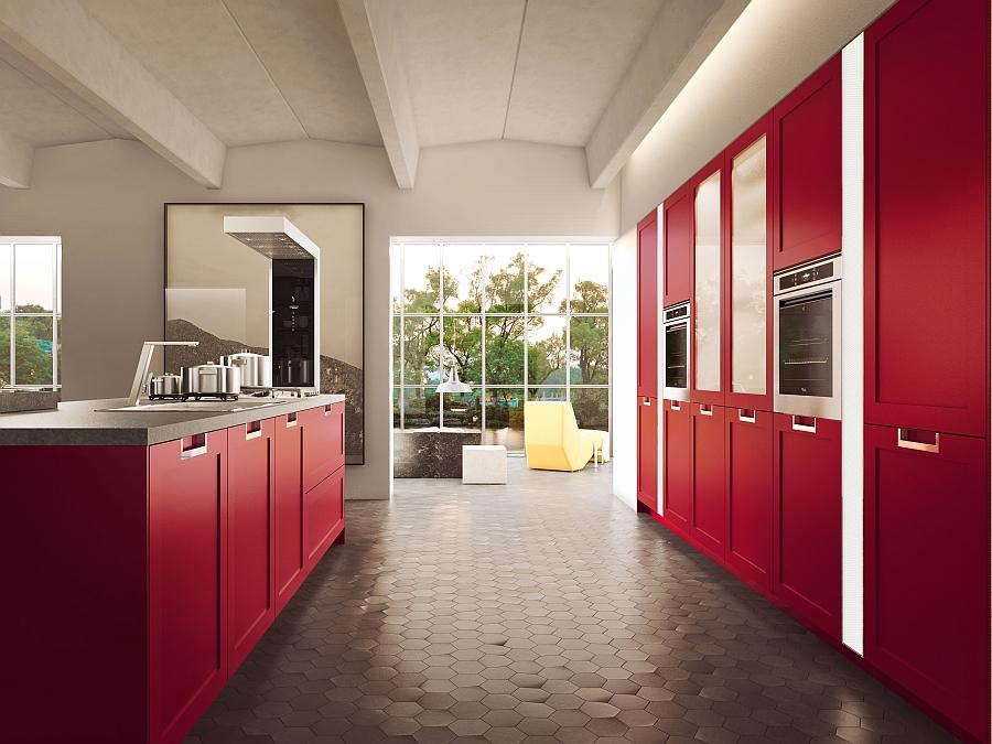 Sleek shelves in kitchen in red