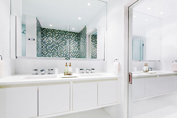 Sliding closet doors in a contemporary bathroom