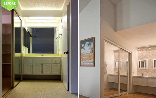 Sliding closet doors in a renovated townhome