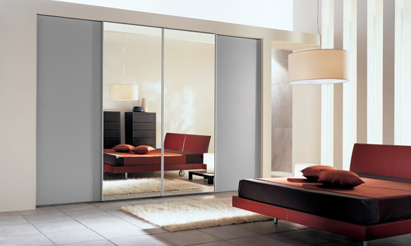 Sliding doors in a sleek bedroom