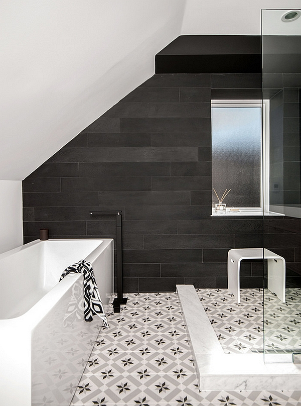 Sloped roof adds to the charm of this bathroom