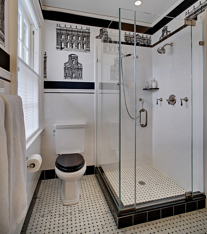 View in gallery Small black and white bathroom idea