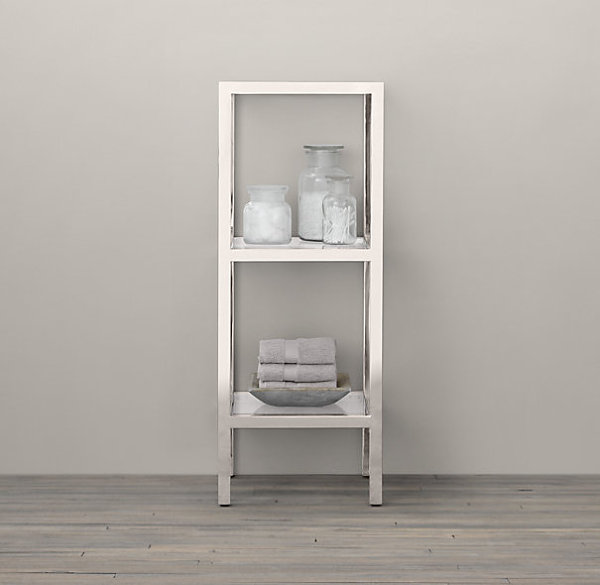 Small stainless steel etagere for the powder room
