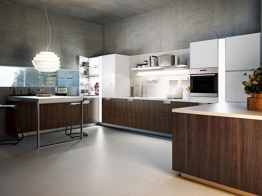 Smart Italian kitchen in white with wooden cabinets