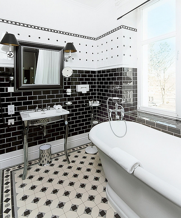 view in gallery smart combination of black and white in the bath - Bathroom Tile Ideas Black And White