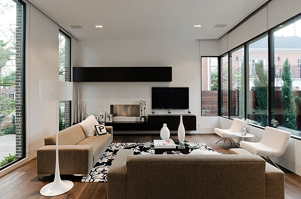 view in gallery smart combination of white decor with floating black shelves - Minimalist Interior Design Living Room