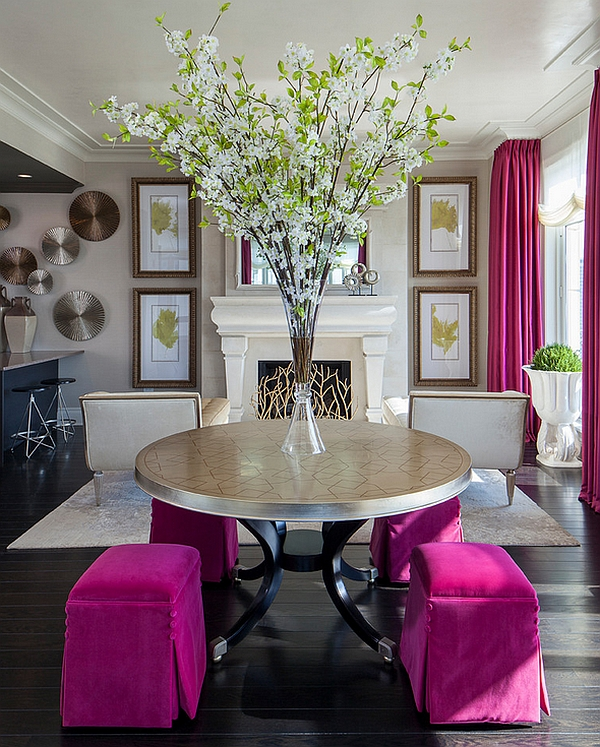 Smart hot pink accents in the living room