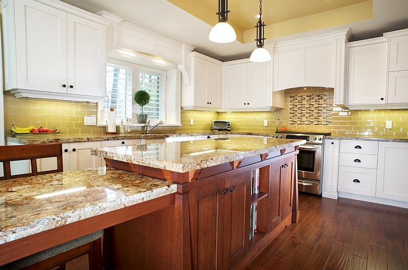 Smart kitchen in mustard yellow and white