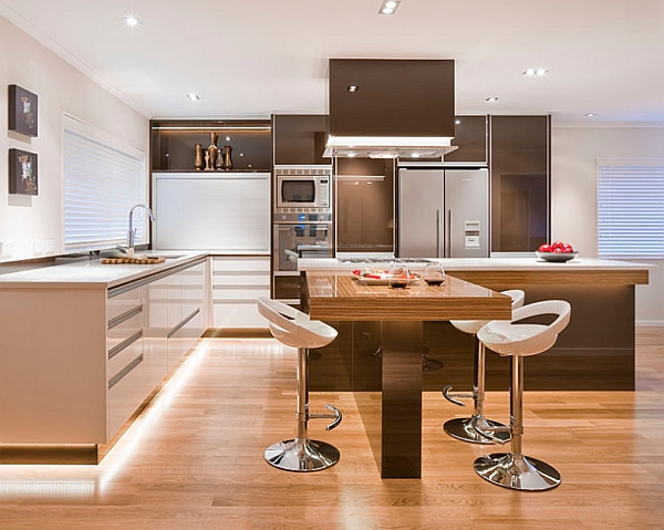 Sophisticated kitchen with warm lighting