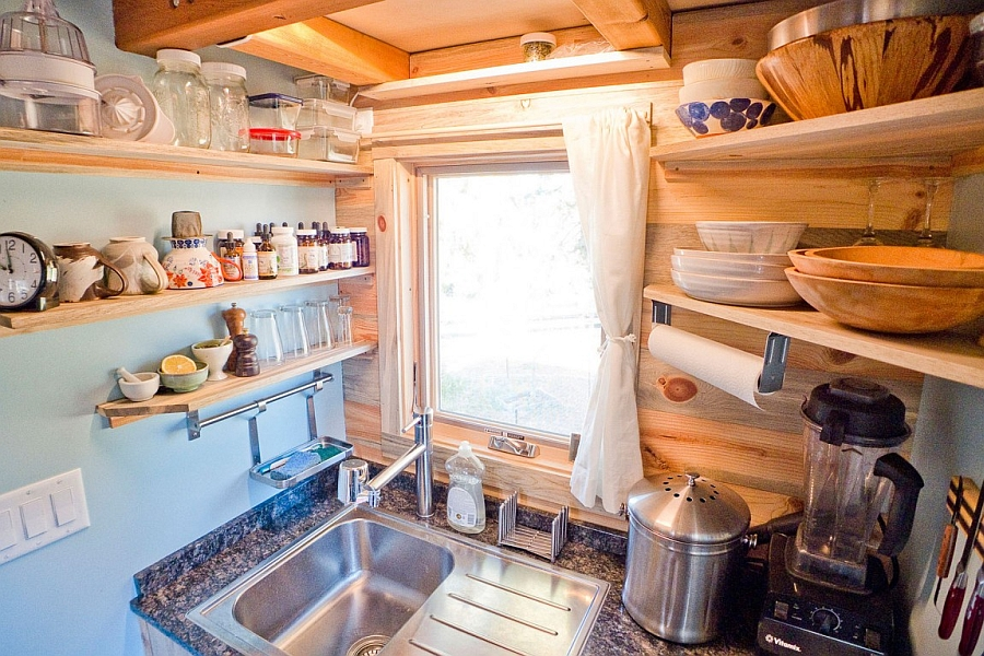 Space-saving shelves in the tiny kitchen