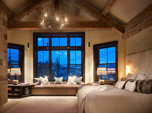 Spiky chandelier in a rustic bedroom