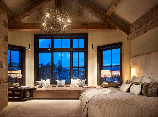 Spiky chandelier in a rustic bedroom