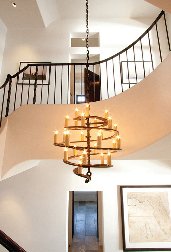 Spiral cascading chandelier looks both modern and rustic at the same time