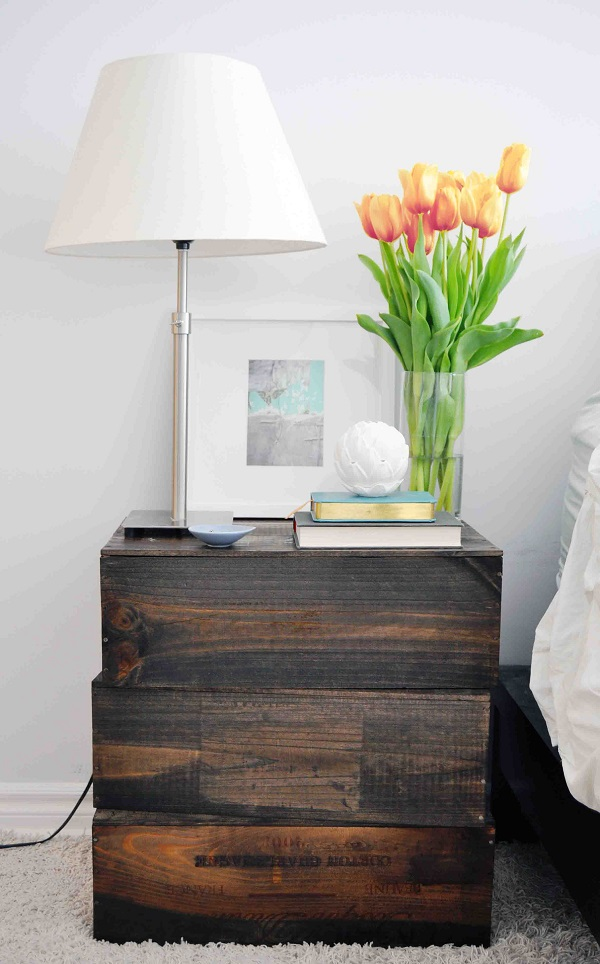 Stained wine box nightstand DIY