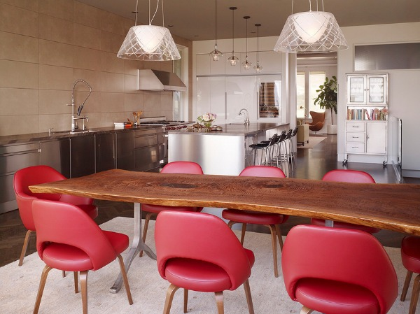Stainless Steel Kitchen Design with Red