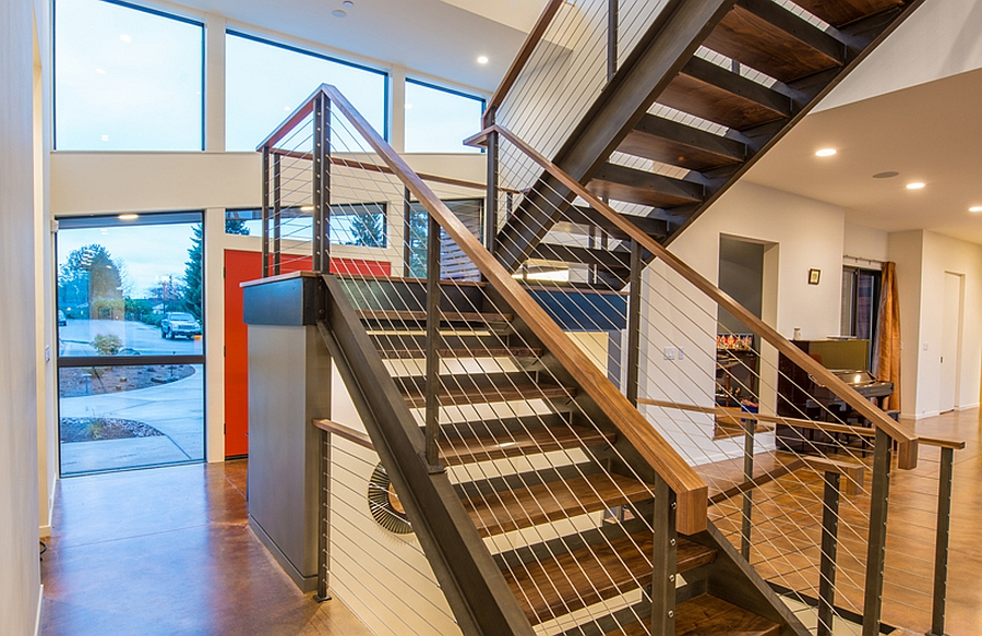 Staircase with steel railing