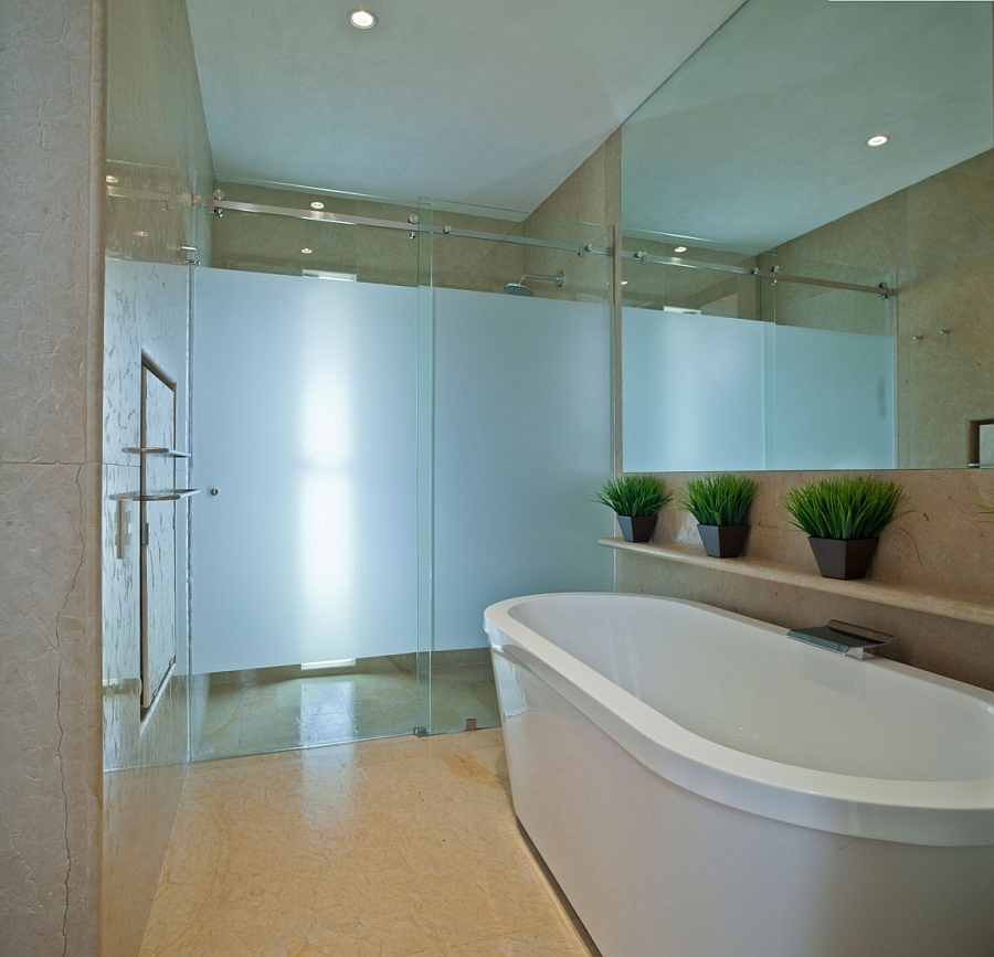 Standalone tub in the bathroom