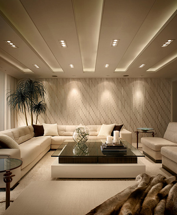 Strategic lighting showcases textured living room walls