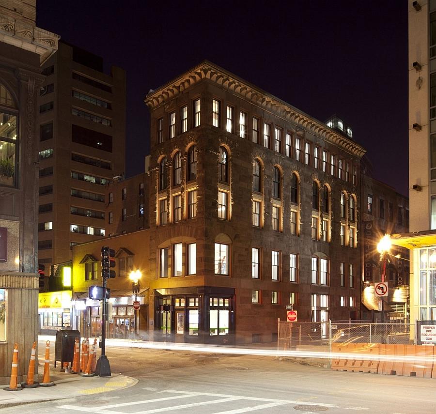 Street facade of the renovated hayden building