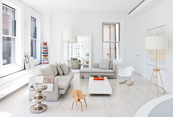 Stunning contemporary, minimal living room in New York