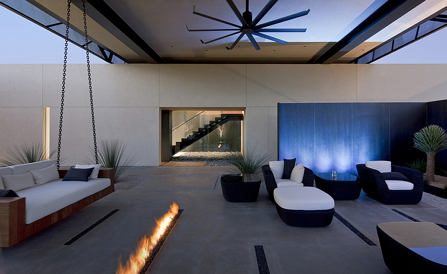 Stunning, sleek fireplace and outdoor patio