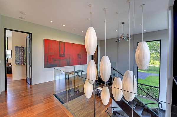 Stunning use of Nelson pendants to create a floating piece of art